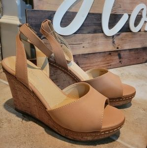 Chinese Laundry Brooks Dark Nude Ankle Strap Cork